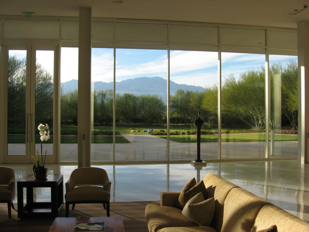 Sunnylands Visitor Center and View of the San Jacinto Mountains.